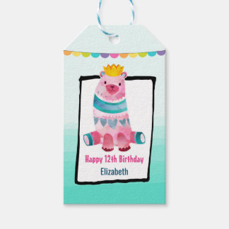 Cute Watercolor Bear on Aqua Green Ombre Birthday Gift Tags