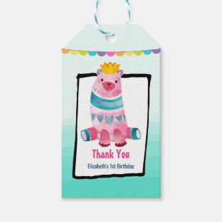 Cute Watercolor Bear on Aqua Green Ombre Thank You Gift Tags