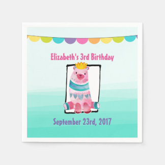 Cute Watercolor Bear Wearing a Crown Birthday Paper Napkins