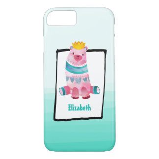 Cute Watercolor Bear Wearing a Crown Personalized iPhone 8/7 Case