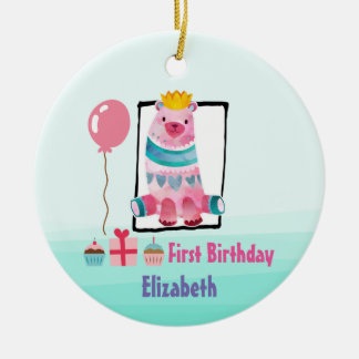 Cute Watercolor Bear with a Crown First Birthday Ceramic Ornament