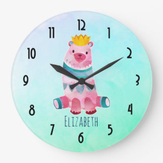 Cute Watercolor Bear with Crown on Pastel Green Large Clock