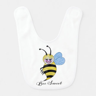 Cute Watercolor Bee With Happy Smile Bib