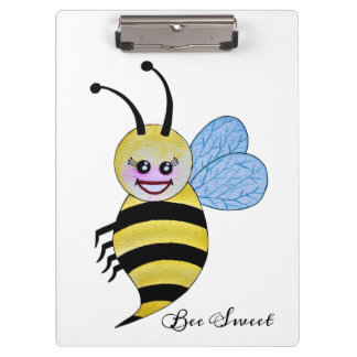 Cute Watercolor Bee With Happy Smile Clipboard