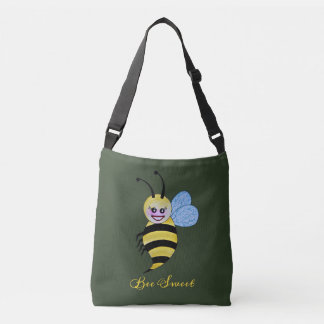 Cute Watercolor Bee With Happy Smile Crossbody Bag