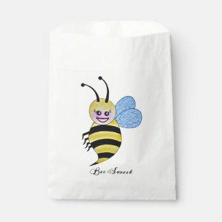 Cute Watercolor Bee With Happy Smile Favour Bag
