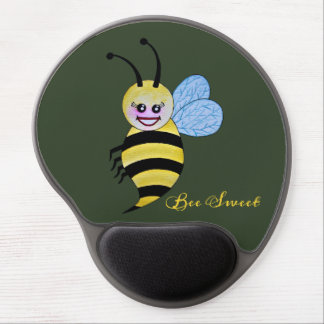 Cute Watercolor Bee With Happy Smile Gel Mouse Pad