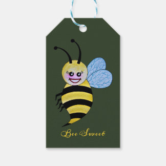 Cute Watercolor Bee With Happy Smile Gift Tags