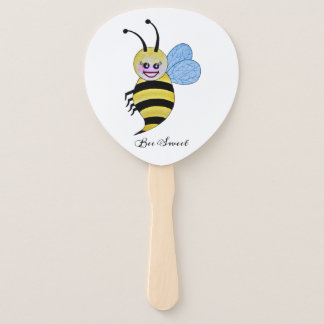 Cute Watercolor Bee With Happy Smile Hand Fan
