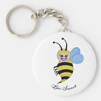 Cute Watercolor Bee With Happy Smile Keychain