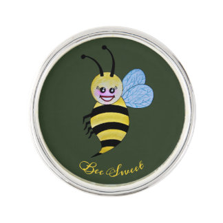 Cute Watercolor Bee With Happy Smile Lapel Pin
