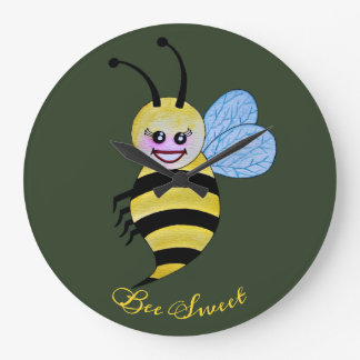 Cute Watercolor Bee With Happy Smile Large Clock