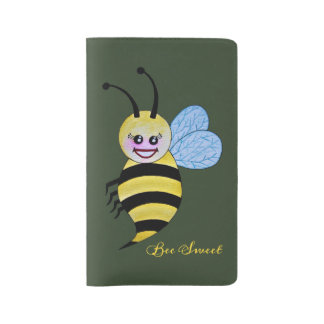 Cute Watercolor Bee With Happy Smile Large Moleskine Notebook
