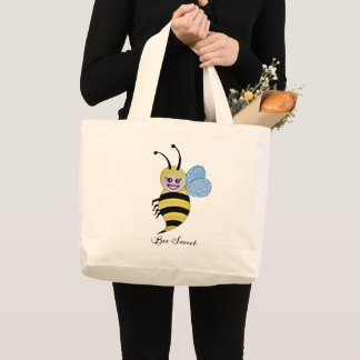 Cute Watercolor Bee With Happy Smile Large Tote Bag