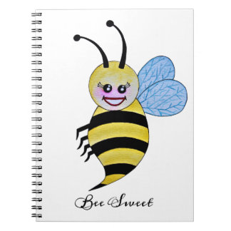 Cute Watercolor Bee With Happy Smile Notebook