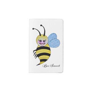 Cute Watercolor Bee With Happy Smile Pocket Moleskine Notebook