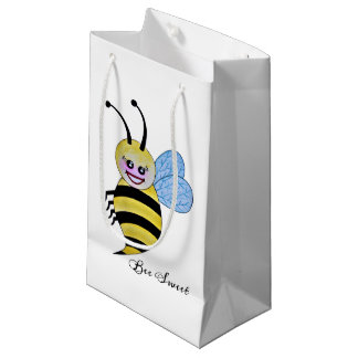 Cute Watercolor Bee With Happy Smile Small Gift Bag