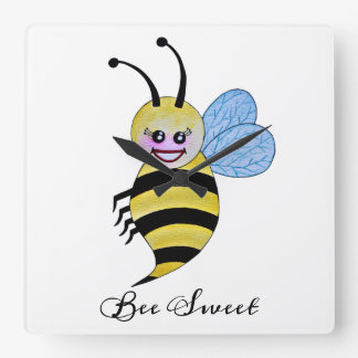 Cute Watercolor Bee With Happy Smile Square Wall Clock