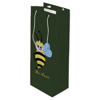 Cute Watercolor Bee With Happy Smile Wine Gift Bag