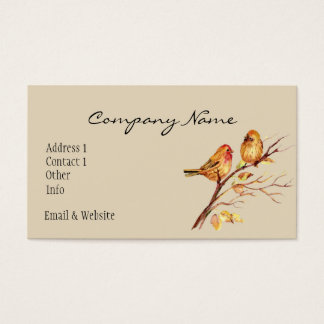 Cute Watercolor Bird Couple on Tree Branch art Business Card