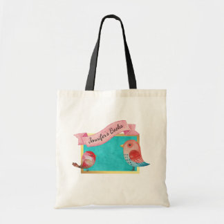 Cute Watercolor Birds on Turquoise Gold Frame Tote Bag
