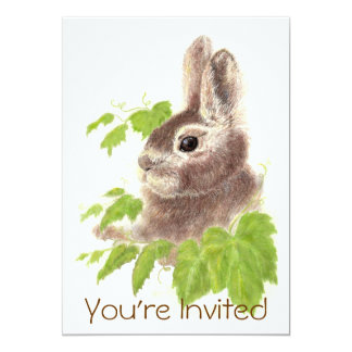 Cute Watercolor Bunny Rabbit Birthday Party Invite