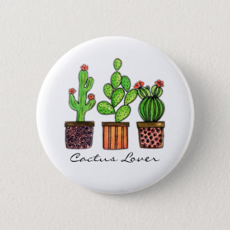 Cute Watercolor Cactus In Pots 2 Inch Round Button