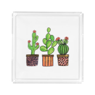 Cute Watercolor Cactus In Pots Acrylic Tray