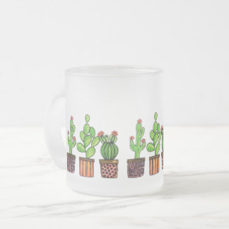 Cute Watercolor Cactus In Pots Frosted Glass Coffee Mug