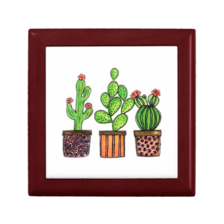Cute Watercolor Cactus In Pots Gift Box