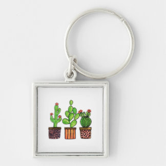 Cute Watercolor Cactus In Pots Keychain