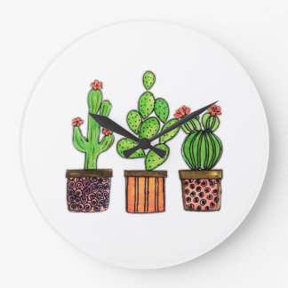Cute Watercolor Cactus In Pots Large Clock