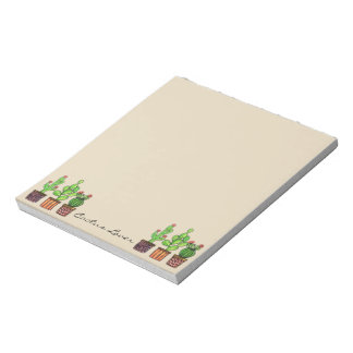 Cute Watercolor Cactus In Pots Notepad