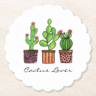 Cute Watercolor Cactus In Pots Paper Coaster