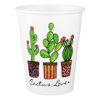 Cute Watercolor Cactus In Pots Paper Cup
