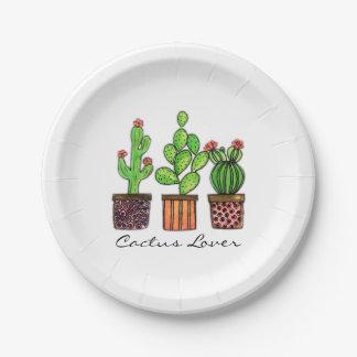 Cute Watercolor Cactus In Pots Paper Plate
