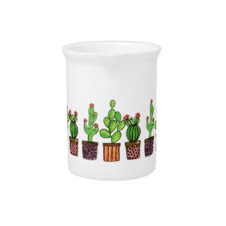 Cute Watercolor Cactus In Pots Pitcher