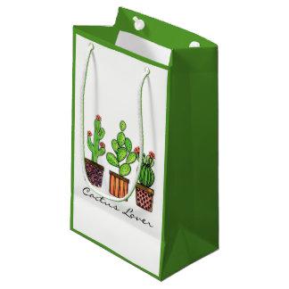 Cute Watercolor Cactus In Pots Small Gift Bag