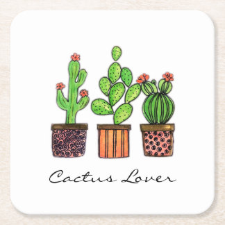 Cute Watercolor Cactus In Pots Square Paper Coaster