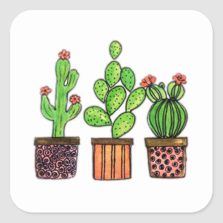 Cute Watercolor Cactus In Pots Square Sticker
