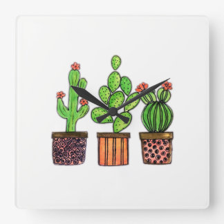 Cute Watercolor Cactus In Pots Square Wall Clock