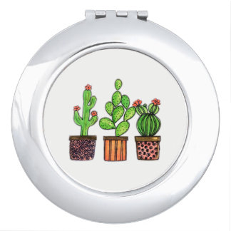 Cute Watercolor Cactus In Pots Vanity Mirrors