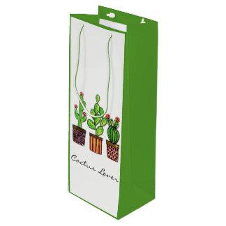 Cute Watercolor Cactus In Pots Wine Gift Bag
