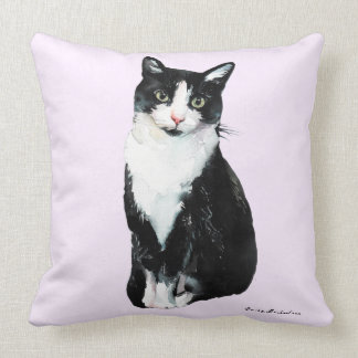 Cute Watercolor Cat on Pale Purple and Add Name Throw Pillow