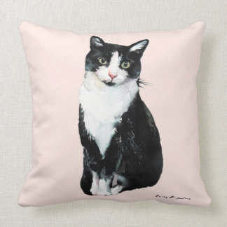 Cute Watercolor Cat with Add Name on Blush Throw Pillow