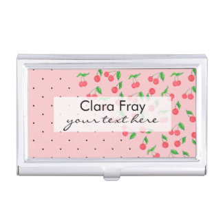 cute watercolor cherry black polka dots pattern business card holder