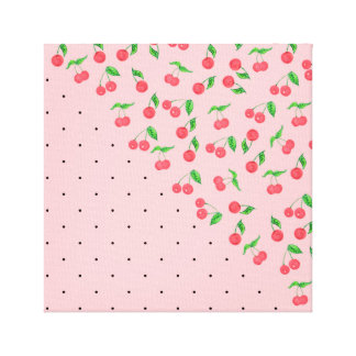 cute watercolor cherry black polka dots pattern canvas print