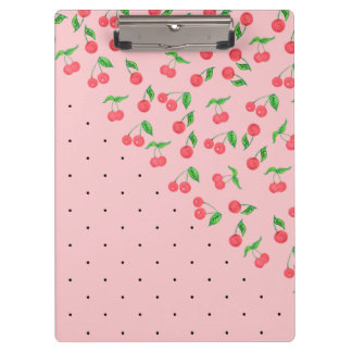 cute watercolor cherry black polka dots pattern clipboard