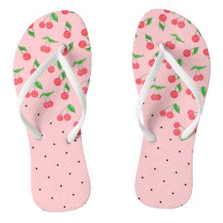 cute watercolor cherry black polka dots pattern flip flops