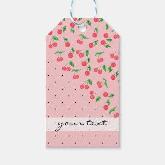 cute watercolor cherry black polka dots pattern gift tags
